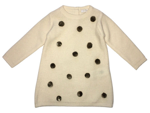 Il Gufo Baby Girls Cream And Brown Pom Pom Knit Wool Dress