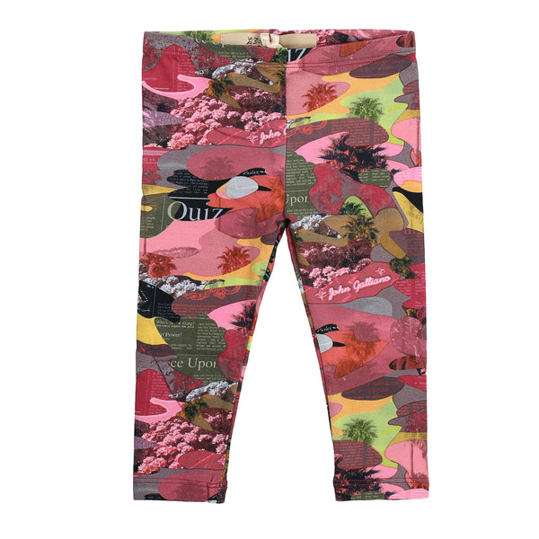 John Galliano Girls Multicolour Leggings With Logo