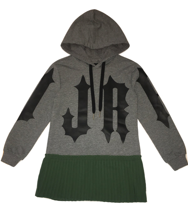 John Richmond Girls Grey And Green Maxi Jumper / Dress With Hoodie