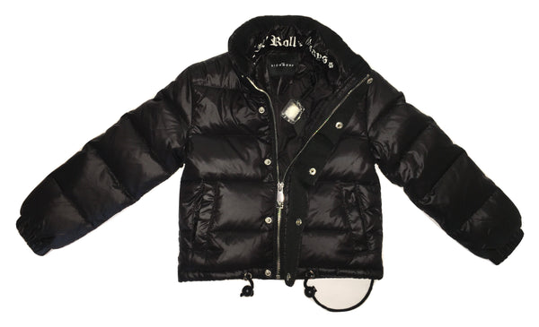 John Richmond Boys Feathers Padded Black Jacket With Back Logo