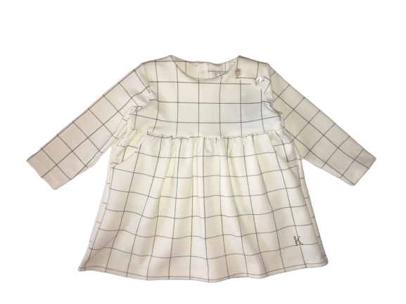The Kapricciosa Baby Girls Cream Dress With Back Buttons