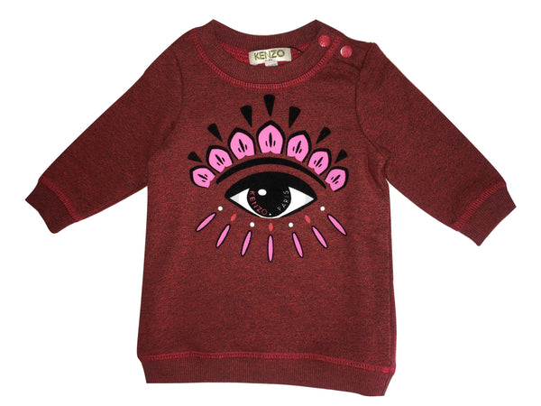 Kenzo Baby Girls Darker Red Eye Dress With Logo