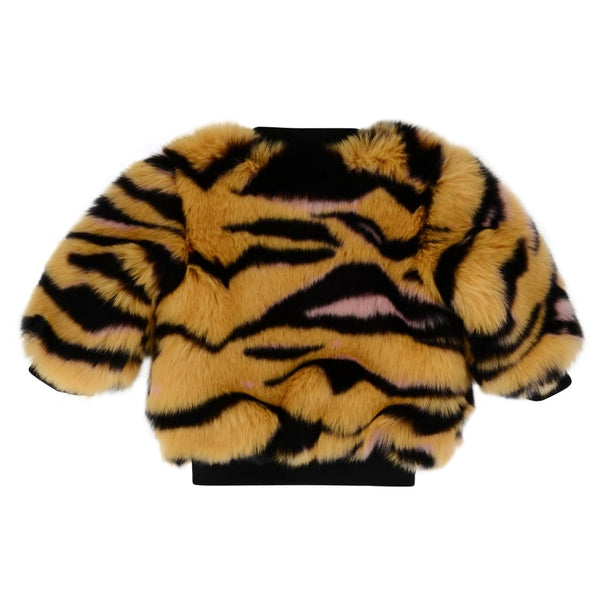 Kenzo Girls Tan Tiger Print Faux Fur Jacket