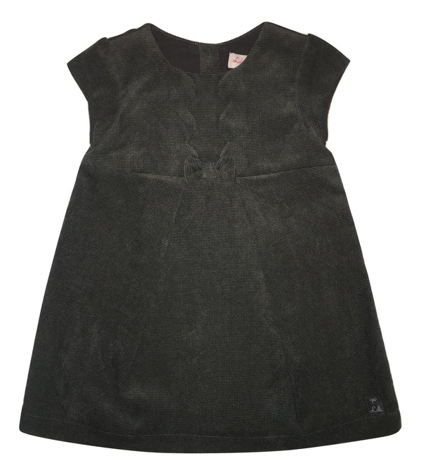 Lili Gaufrette Baby Girls Darker Grey Dress With Bow