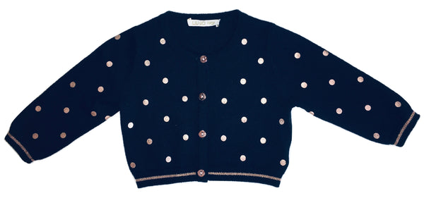 Liu Jo Baby Girls Navy Blue With Gold Polka Dots Cardigan