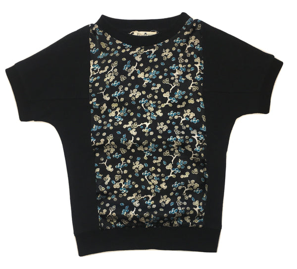 Le petit coco Girls Black Top With Flowery Pattern