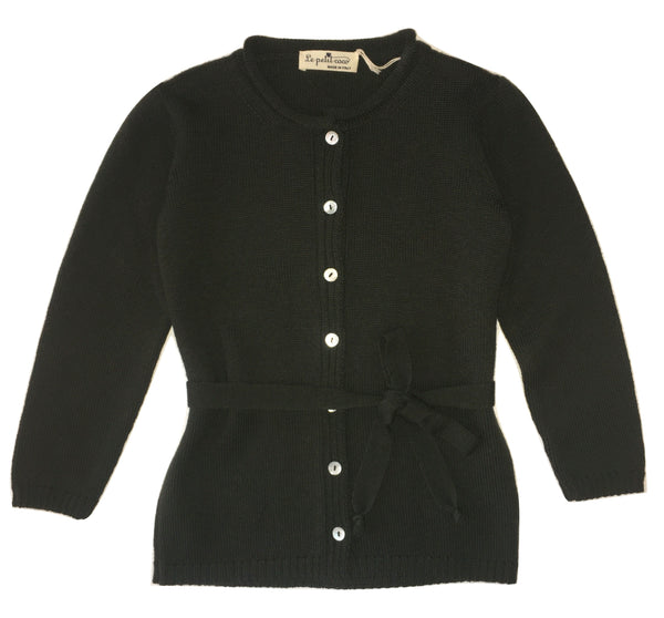 Le petit coco Girls darker Green Wool Cardigan