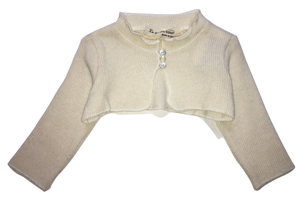 Le petit coco Baby Girls Cream Shrug Cardigan