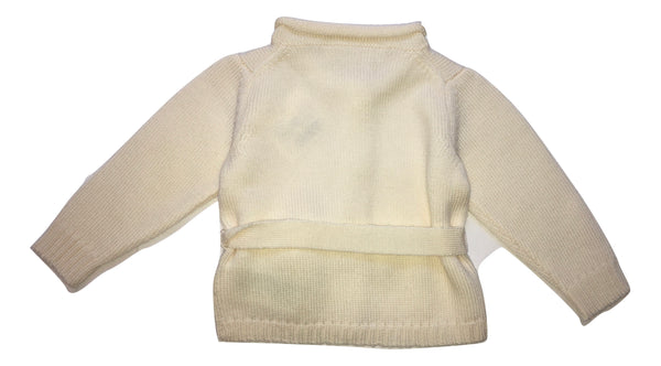 Le petit coco Baby Girls Cream Wool Cardigan with Cord