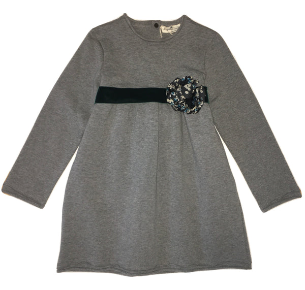 Le petit coco Girls Grey Dress With Green From Silk Flower