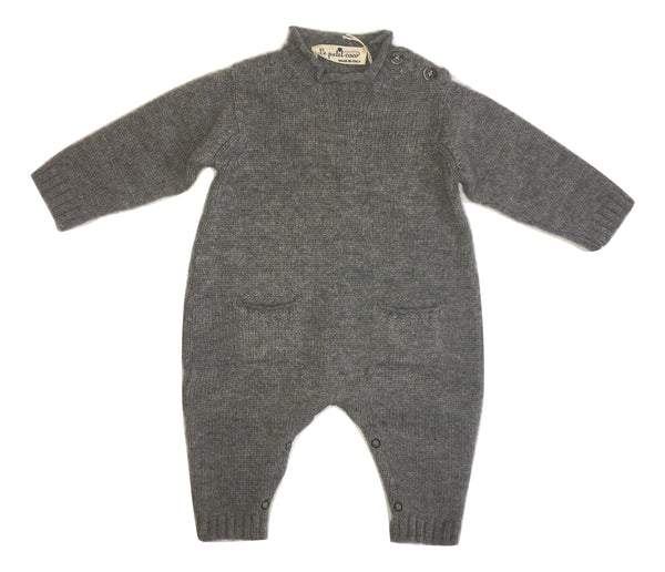 Le petit coco Grey Footless Cashmere Babygrow With Pockets