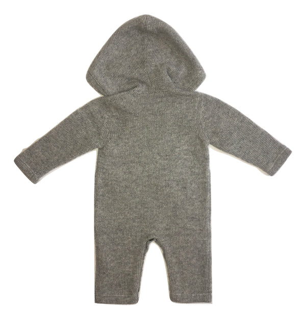 Le petit coco Grey Footless Babygrow With Pocket And Hoodie