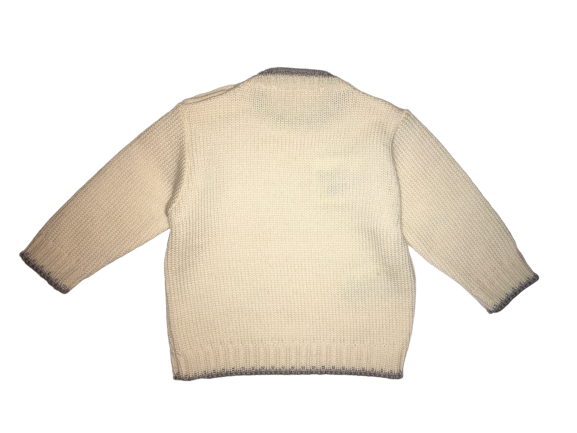 Le petit coco Baby Cream And Grey Wool Jumper