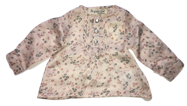 Le petit coco Girls Pink Silk Flowery Top