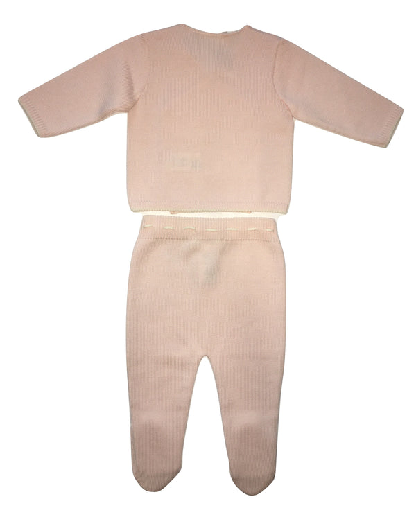 Le petit coco Baby Girls Pink And White Wool Set Of Trousers And Cardigan