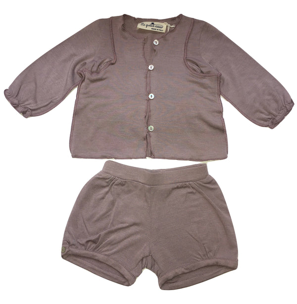 Le petit coco Baby Girls Purple Set Of Cardigan And Shorts