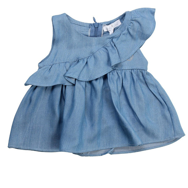 Meilisa Bai Baby Girls Light Blue Sleeveless Shirt With Logo