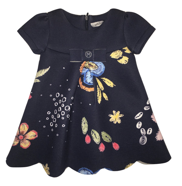 Meilisa Bai Baby Girls Navy Blue Flowery Dress With Bow