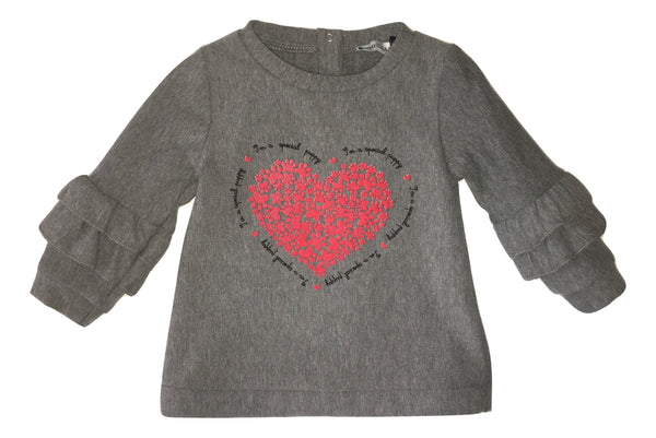 Meilisa Bay Girls Grey Top With Front Heart