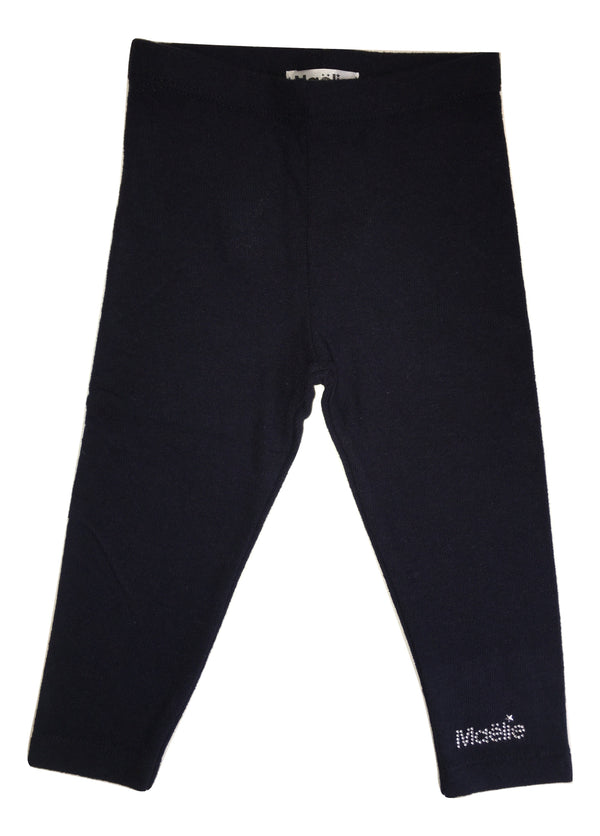 Maelie Baby Girls Navy Blue Leggings With Logo