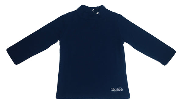 Maelie Baby Girls Navy Blue Long Sleeves T-shirt With Logo