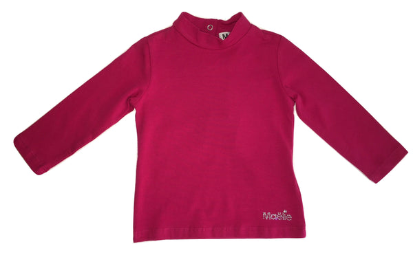 Maelie Baby Girls Fuschia Long Sleeves T-shirt With Logo