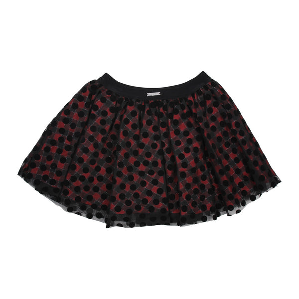 Maelie Girls Red / Black Skirt With Polka Dots Tull