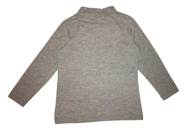Maelie Girls Grey Long Sleeves Top With Front Logo