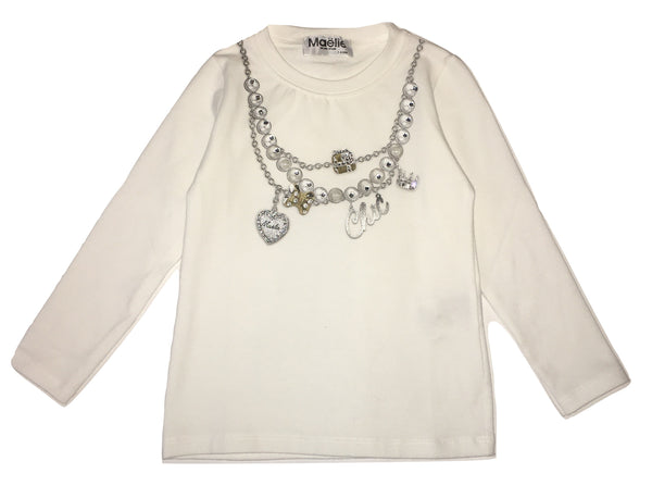 Maelie Girls White Long Sleeves Top With Front Neckless Printed
