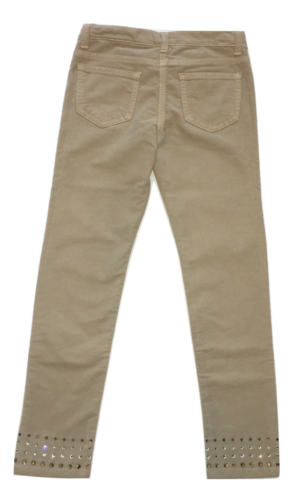 Monnalisa Girls Cream Trousers With Sparkly Stones