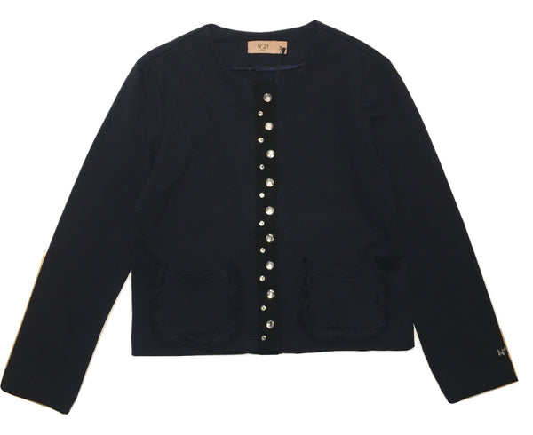 Numero 21 Girls Navy Blue Jacket With Sparkly Stones And Pockets