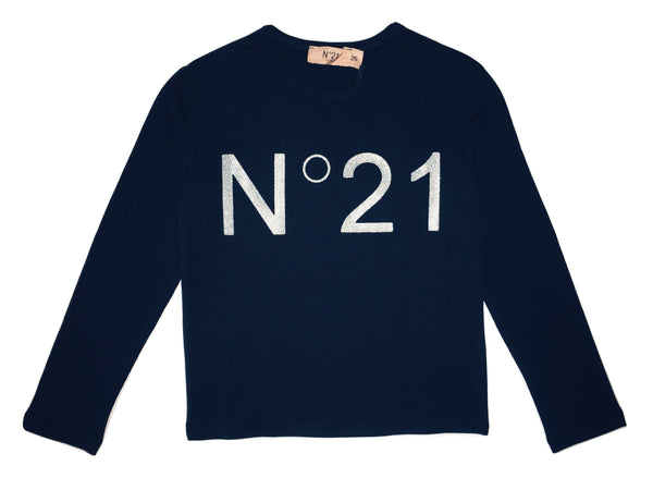 Numero 21 Girls Navy Blue Long Sleeves Top With Front Logo