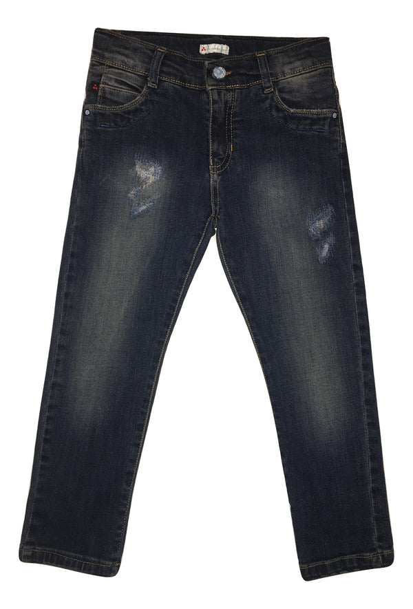 Peuterey Boys Blue Jeans With Logo And Scratches