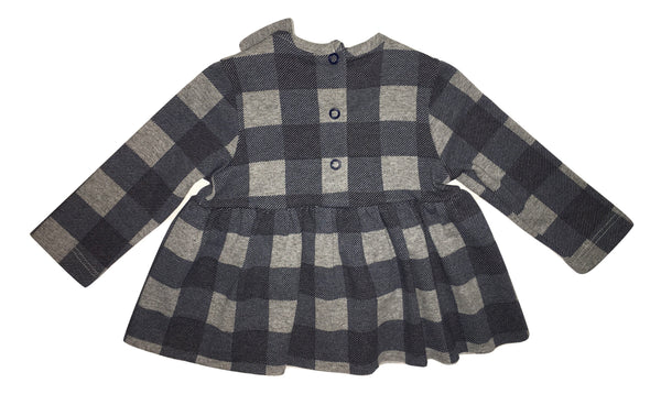 Peuterey Baby Girls Blue and Grey Squared Dress With Bow