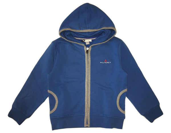 Peuterey Boys Blue And Grey Hoodie With Front Logo And Side Pockets