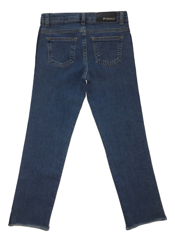 Pinko Girls Blue Jeans With Navy Blue Side Stripes