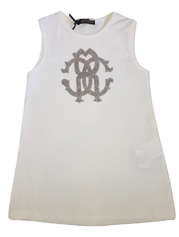 Roberto Cavalli Girls White Cream Dress With Front Sparkly Logo