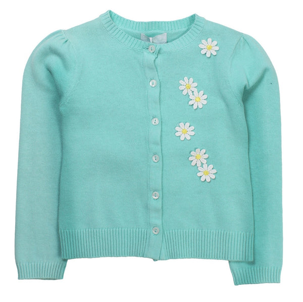 SHE.VER Baby Girls Turquoise Cardigan With Flowers