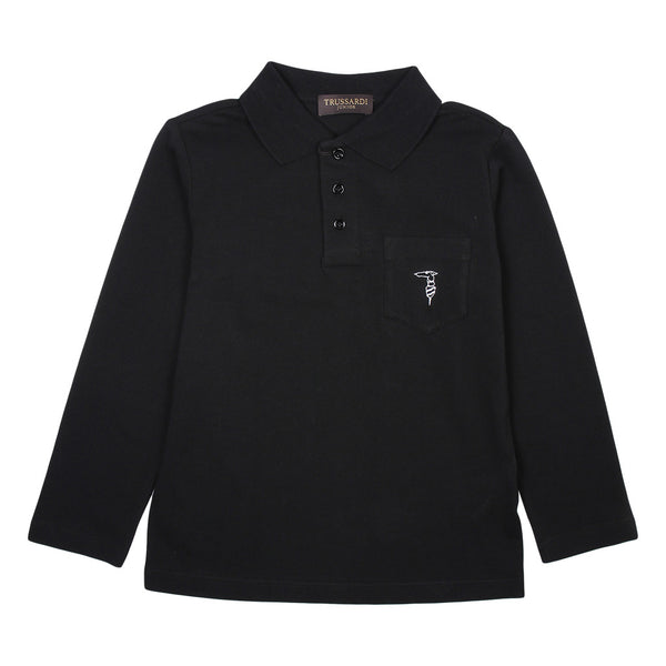 Trussardi Boys Black Long Sleeves Polo With Front Logo