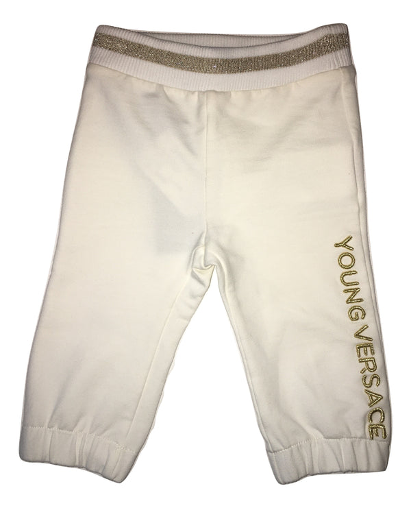 Versace Baby Cream Trousers With Front And Back Logo