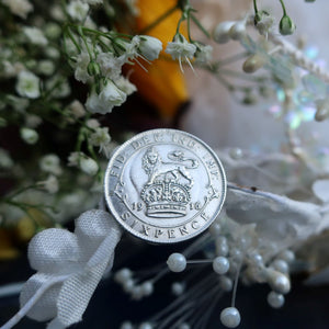 Wedding Sixpence, Something blue, Silver Sixpence, I Do Silver, Antique sixpence, British Sixpence