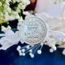 Load image into Gallery viewer, Wedding Sixpence, Something blue, Silver Sixpence, I Do Silver, Antique sixpence, British Sixpence