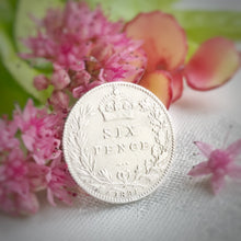 Load image into Gallery viewer, silver sixpence, wedding sixpence, brides gift, sixpence for bride, graduation, birthday, anniversary, wedding, gift, queen victoria, i do silver