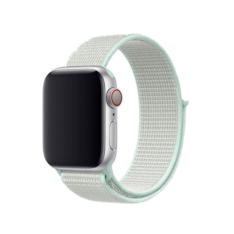 Apple Watch Nylon Klettverschluss Ersatz Armband - Mint Hell (38 mm / 40 mm)