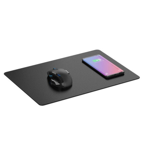 Universal Quick Charge Leder Mousepad mit Wireless Cahrging Funktion - Schwarz