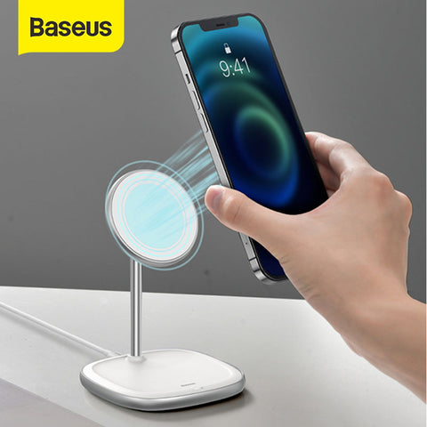 Baseus - iPhone 12 Series Swan MagSafe Ladestation Fast Wireless Charger - Weiss