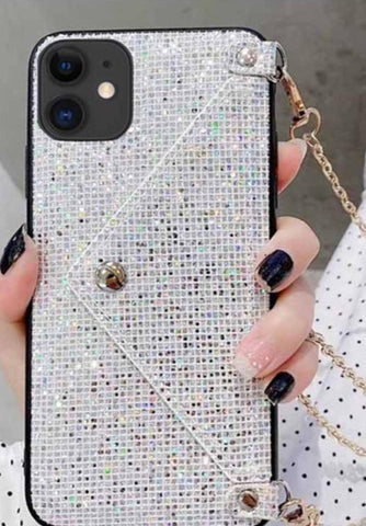 iPhone 11 Bling Bling Lanyard Series Cover Schutzhülle mit Kette - Silber
