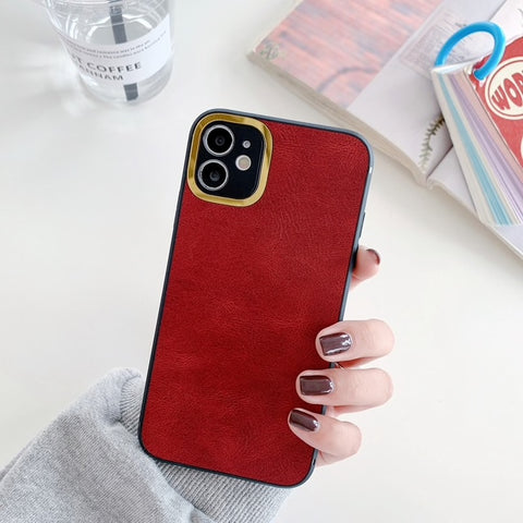iPhone 11 Pro Max Leather Premium Series Handyhülle - Rot