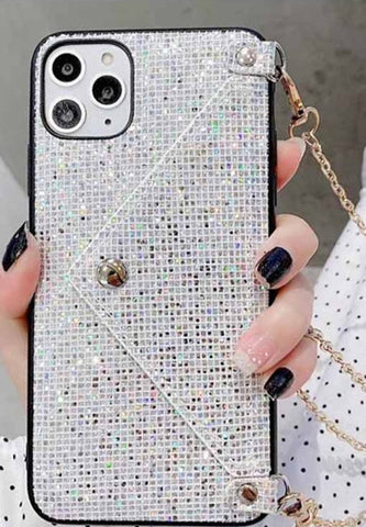iPhone 11 Pro Max Bling Bling Lanyard Series Cover Schutzhülle mit Kette - Silber