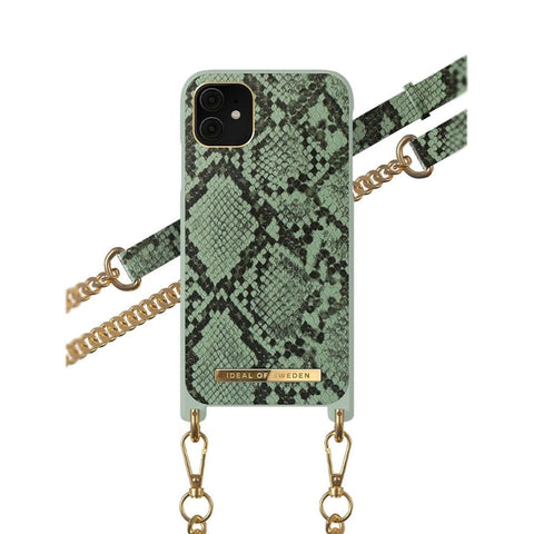 iPhone 11 / XR iDeal of Sweden Necklace Hardcase Hülle - Khaki Python